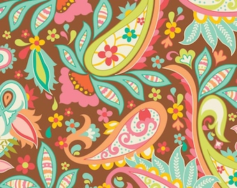 Sweet Main Paisley Brown - Designer Home Dec Fabric - Riley Blake Designs 100% Cotton Duck - Sold by the Half Yard