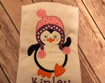 Winter Penguin applique ruffle shirt