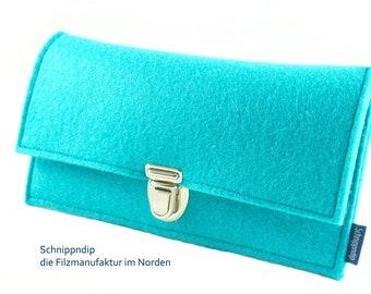Wallet/wallet/purse made of high quality wool felt lockable with a Mappenschloss