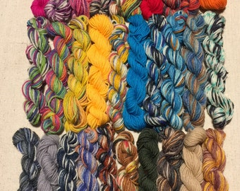 All Opal, Mini Skeins, Lot of 30 different colors, 25 Yards Each, 750+ Yards, No Knots, One Freebie, Quality Sock Yarn, Mini Hanks