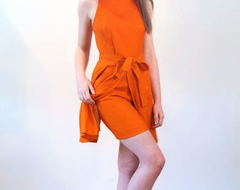 60s Nina Ricci Tunic & Shorts Suit S, Orange Linen Mod Dress, Nina Ricci Dress, 2 Piece Dress, 60s Scooter Dress, Designer Vintage Outfit