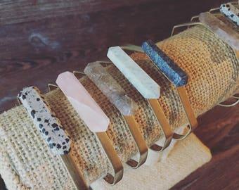 Crystal hexagon cuff bracelets