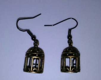 1PC Bronze Cage Earrings
