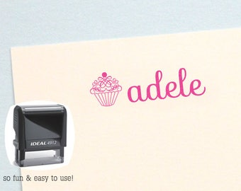 Cupcake Name Stamp, Gift for Kids, Personalized Birthday Gift, Kids Name Stamp, Cupcake Self Inking Stamp, AK143