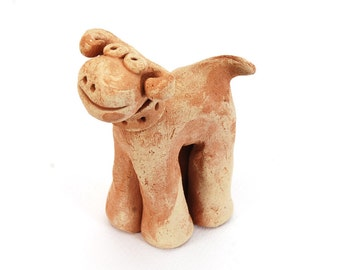 Dog Sculpture, ceramic dog art, clay dog figure, small wedding gift, birthday gift, dog lover gift, friend gift, anniversary gift, art decor
