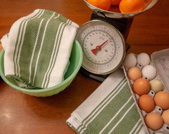 Handwoven Cotton Dish Towel - Green Stripe Twill