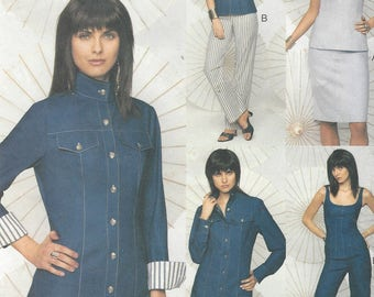 Womens Jeans Style Unlined Jacket, Top, Skirt & Pants Semi-Fitted OOP Vogue Sewing Pattern 7737 Size 8 10 12 Bust 31 1/2 to 34 UnCut
