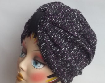 Wool, tweed, fashion turban, hat, black, purple,  full turban, winter, vintage style, designer, sizes M.  Free shipping in USA.