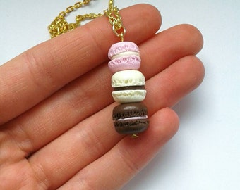 Polymer clay mini macaroon necklace