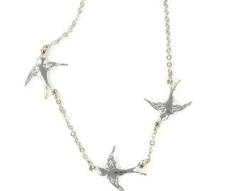 Vogelhaus-Schmuck - Silber dreifach Sparrow Halskette