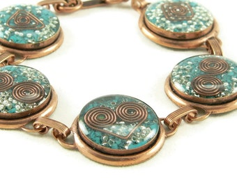 Orgone Energy Circle Link Bracelet in Copper with Turquoise Gemstone - Artisan Jewelry - Orgone Energy Jewelry