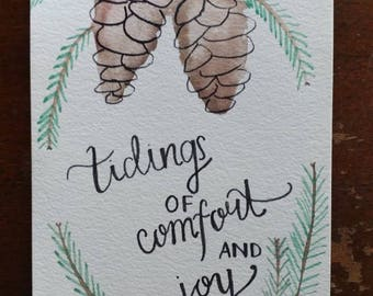 Tidings of comfort and joy | Pine cone | Handlettered painting | Christmas decoration | Holiday decoration | Wall art | Original