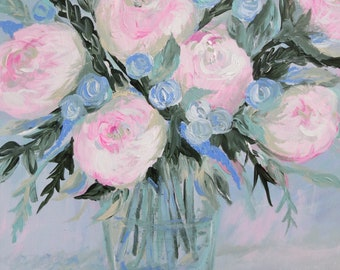 """Acrylic Painting Original Florals // """"Wishing You Well"""" 14"""" x 18"""" on Canvas // Wall Art"""