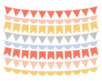 Bunting Clip Art, Peach, Yellow, Blue and Grey, Banner Flags Clipart, Digital Bunting Flags, Instant Download