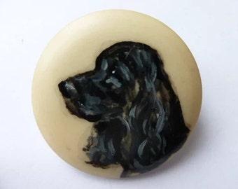 Vintage Dog Brooch, Dog Brooch  Hand Painted Brooch, Spaniel Brooch, Painted Brooch Pin, Dog Pin, Vintage Jewelry, Vintage Jewellery