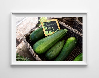 Green Kitchen Decor - Zucchini Food Photography, Farmers Market Art, Food Art, Vegetable Art - Small and Large Art Prints Available