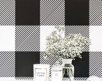 Gingham removable wallpaper, buffalo check design, traditional or self adhesive material