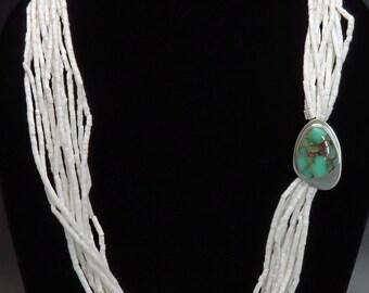 Modern Ralph Sena White Coral & Variscite Asymmetrical Necklace