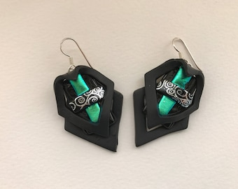 Dichroic glass earrings with polymer clay; green, silver and black