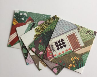 Set of 5 Handmade Book Page Envelopes -