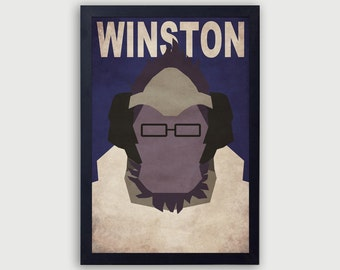 Overwatch Winston Poster, Winston Print, Winston Gamer Print, Winston Poster, Winston Vector Art, Overwatch Vector Print, Winston Gift