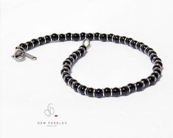 Men's Bracelet - Black Onyx Agate Gemstone Bead Bracelet with Stainless Steel Spacers on Stainless Steel Beading Wire - Stylish Gift for Him