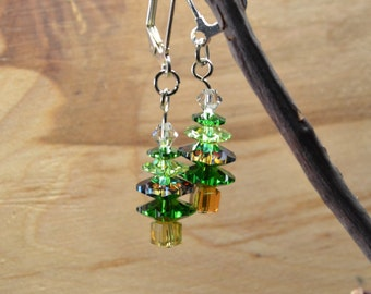 Christmas Earrings with Swarovski Crystals, Silver Tone