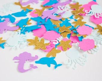 Mermaid Confetti - Under the Sea Confetti - Mermaid Party Decor - Girls Birthday Party - Glitter Confetti - Nautical Confetti - Confetti