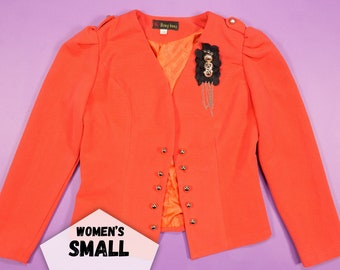 Vintage 80s Jacket Cropped Coral Bow Blazer Crop Jacket Orange Floral Brooch Detail Retro Clothing ~ Small