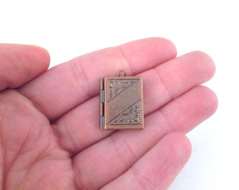Copper Plated Book Lockets 16x22mm, Pick your amount, D195