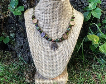Forest Tree of Life - Woodland bead and charm necklace with bronze chain and toggle clasp