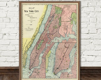 New York City map - Large map of New York City  -  Large wall map  - Old map of NYC