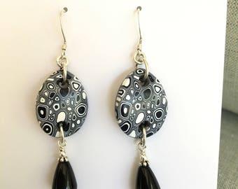 Black White Earrings, Onyx Earrings, Bridesmaid Gift, White Black Earrings, silver Earrings, sterling Silver, handmade, Gifts for Her
