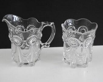 SALE EAPG Cream and Sugar Set- Antique Glass