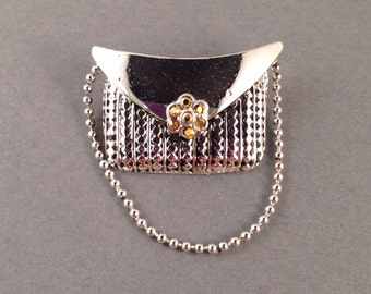 "Silver Purse Brooch with Gold Rhinestone Clasp & Silver Ball Chain Strap by Donecraft .75"" Long and 1.25"" Wide Previously 15 Dollars ON SALE"