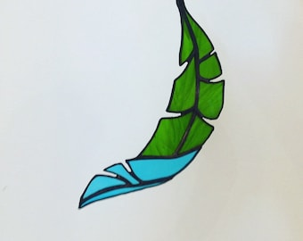 Stained Glass Curved Banana Leaf, leaves, Banana Leaves
