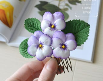 Purple Flower hair comb Vintage style hair comb Woodland Wedding hair comb Bride hair piece Purple Wedding hair accessories Gift for mum