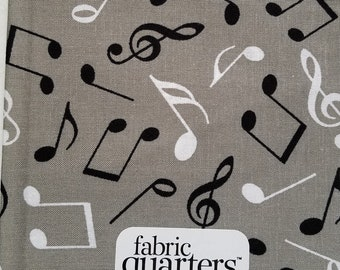 """Fabric Quarters Cotton Fabric 18""""- Musical Notes"""