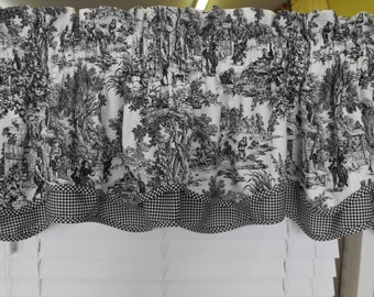 SALE Window Valance Toile Sale 50 % off Toile valances red or black, double layer valance, window valance, window curtains, black valance