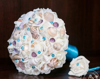 Seashell bouquets, Beach wedding bouquet, malibu seashell bouquet, turquoise bridal bouquet, bouquet with shells, destination wedding