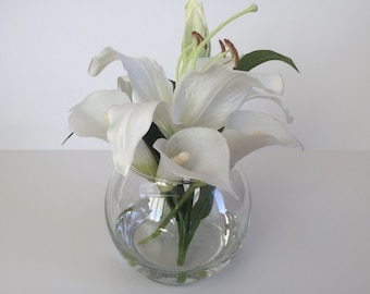 "SALE! Faux Silk Floral Arrangement, Faux Water, Artificial Flower Arrangement, Wedding Flowers, Home Decoration - 8"" Tall"