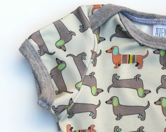 Wiener dog Baby T-shirt • ORGANIC newborn tee • Dachshund clothes • Baby girl/ boy shirt •Infant top lapped shoulders •Little dog lover gift