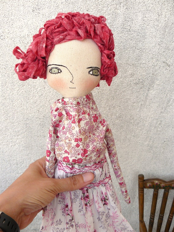 New more stylized model. Art doll in cotton. Cellulose fabric hair. 16 inches.