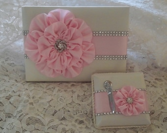 Ivory Satin Wedding Guest Book with Light Pink Flower and Rhinestone Mesh Trim & Pen Set, Petal Pink Guestbook, Quinceanera Guest Book