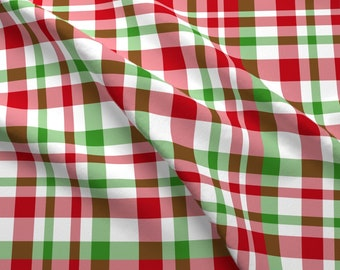 Classic Plaid Fabric - Holiday Plaid By Argenti - Classic Plaid Red Green White Christmas Tartan Cotton Fabric By The Yard With Spoonflower