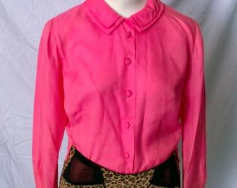 Vintage 60's Hot Pink blouse, size- med/large. pin up, rockabilly, vlv