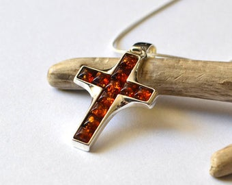 Amber Cross Pendant Necklace, Cross Amber Pendant, Baltic Amber, Silver Amber Cross, Amber Jewelry