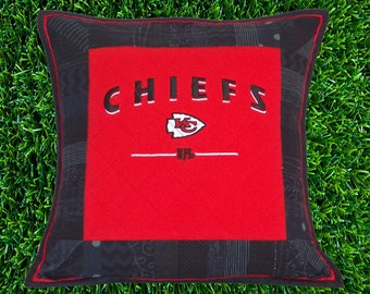 Kansas City Chiefs Quilted Pillow Sham | KC T Shirt Upcycled Pillow Cover | KC Chiefs Quilted Pillow Sham | KC Football Quilted Pillow Cover