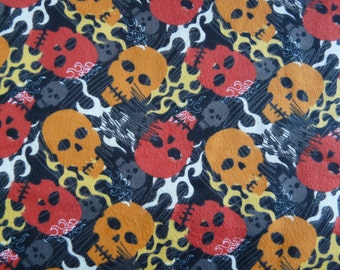Skull Flannel Fabric - Skull Flame Fabric - Skulls Flannel  - Cotton Fabrics - Flames - Skulls - 100% Cotton - Flannel Fabric - half yards