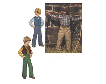 Uncut Simplicity 9129, 70s sewing pattern, size 6 boy's shirt pattern, lined vest pattern, pants pattern